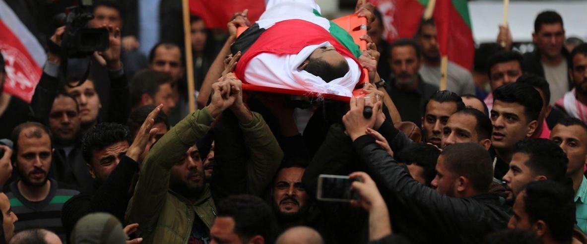 تشييع جثمان الشهيد الصحفي أحمد أبو حسين في قطاع غزة