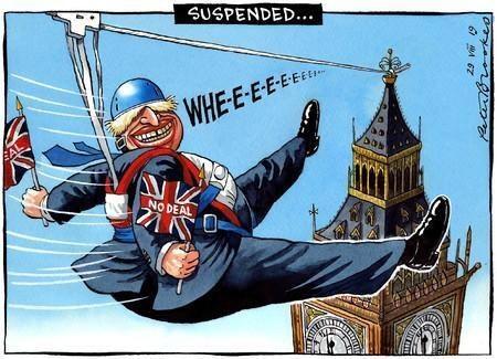 فى كاريكاتير التايمز.. جونسون يحتفى بتعليق البرلمان البريطانى